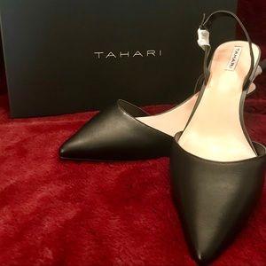 Tahiti black leather slingback/kitten heel  9M